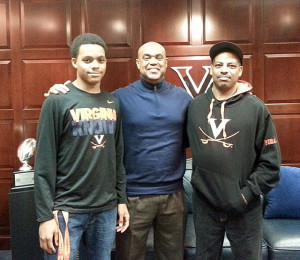 Thornhill and his father with UVa head coach Mike London (photo courtesy of Thornhill)