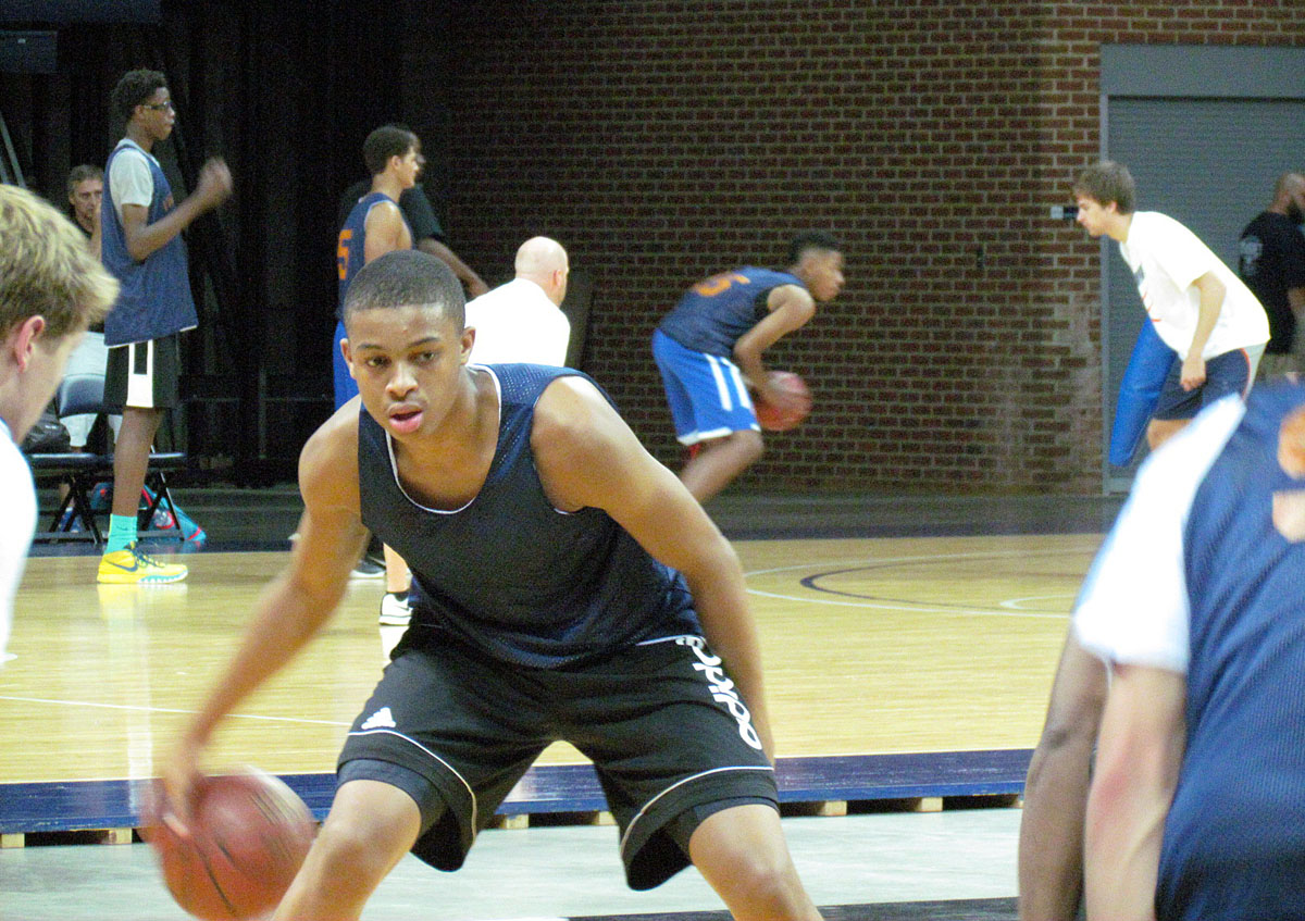 Johnson performs a dribbling drill at UVa's Elite Camp in August of 2015