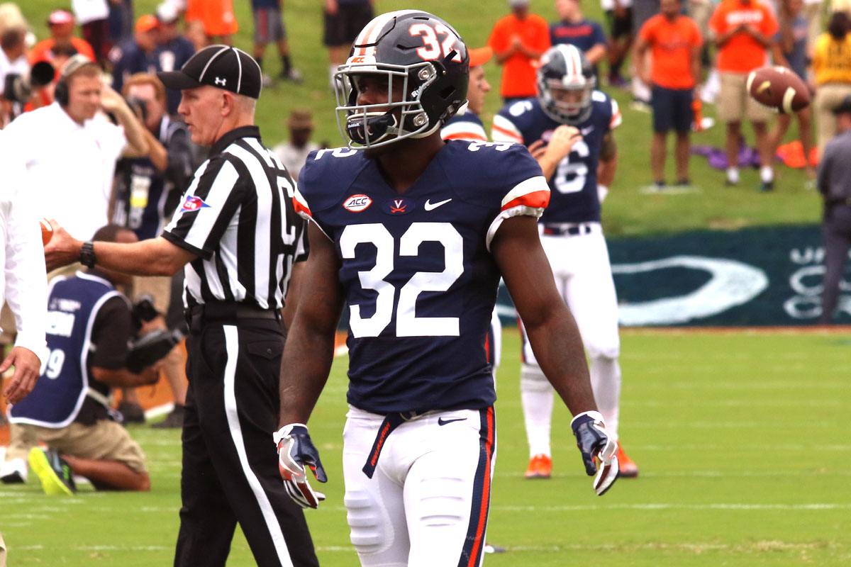 Kirk Garner has seen a lot of action in Virginia's nickel defense this season. ~ Kris Wright