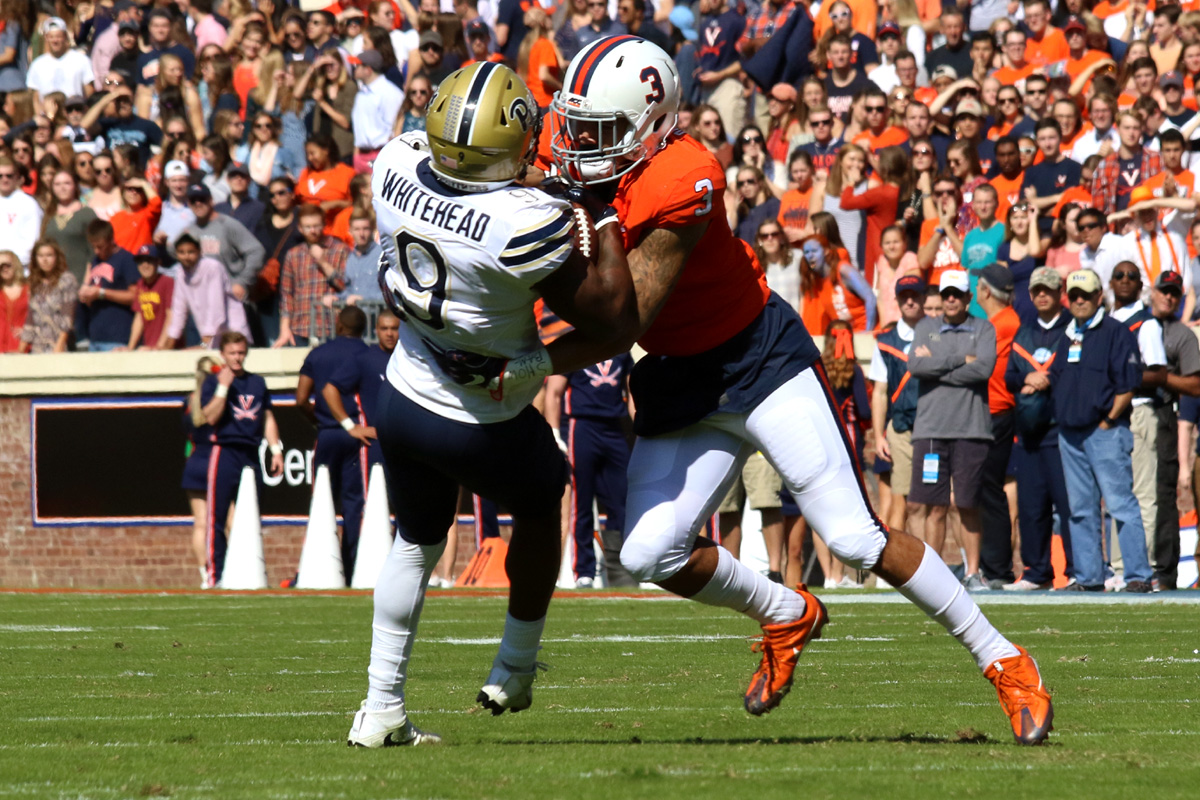 Quin Blanding led the Virginia football team with 16 tackles against Pitt.