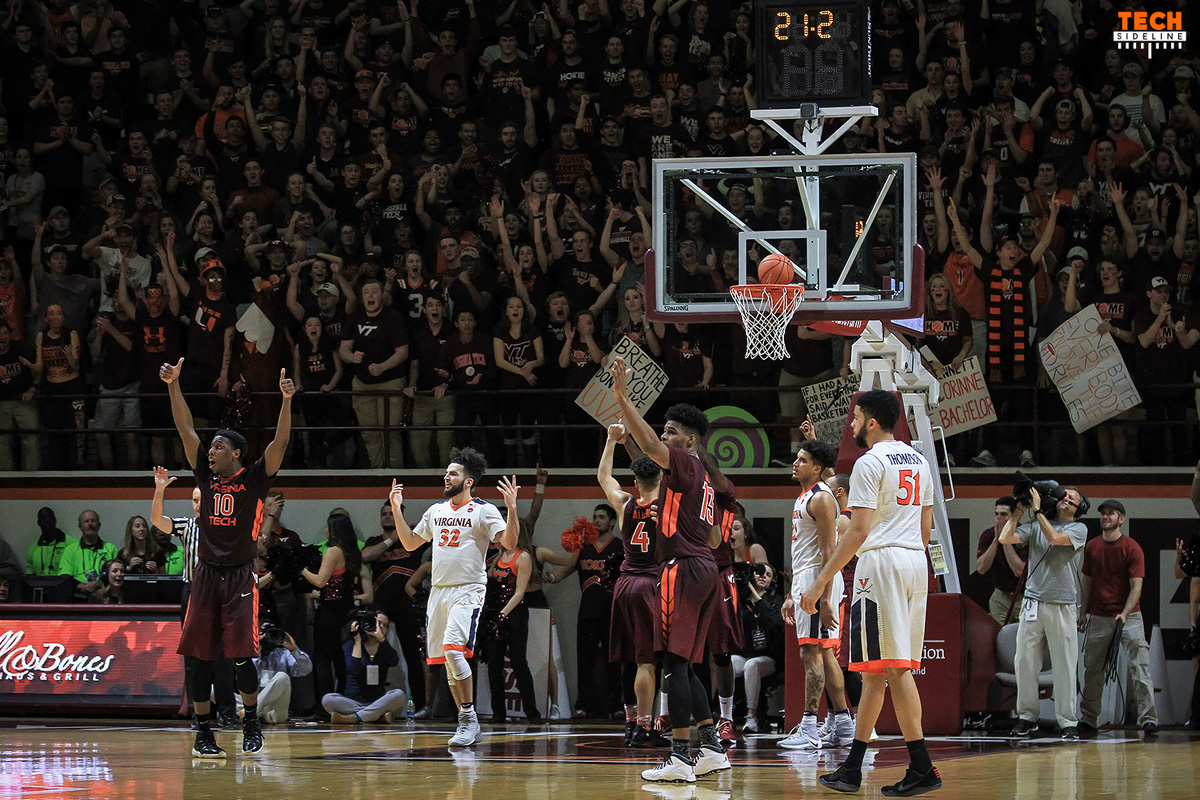 2017.02.12. Basketball. Men.  No.12 Virginia (UVA, Cavaliers, Wahoos) at Virginia Tech (Hokies).  Cassell Coliseum, Virginia Tech, Blacksburg, VA.  Final score: Virginia Tech 80, UVA 78.  Officials: Roger Ayers, Ted Valentine, Doug Shows. Attendance: 9,567.   Notes: Virginia is ranked #12 in the AP Poll. Commonwealth Challenge Game - VT leads UVa 5.0-3.5
