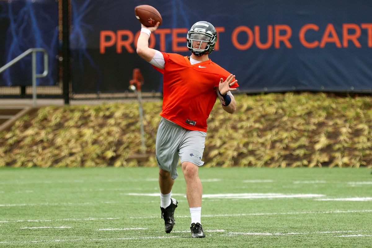 The Virginia football team opened spring practice for the second time under Bronco Mendenhall.