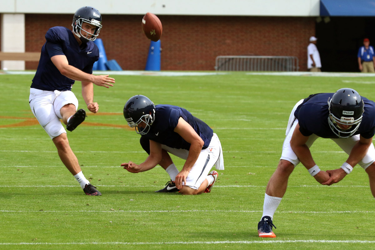 The Virginia football team must replace all of its kicking specialists this season.