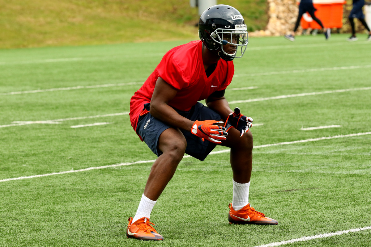 Tim Harris is back from a shoulder injury for the Virginia football team.