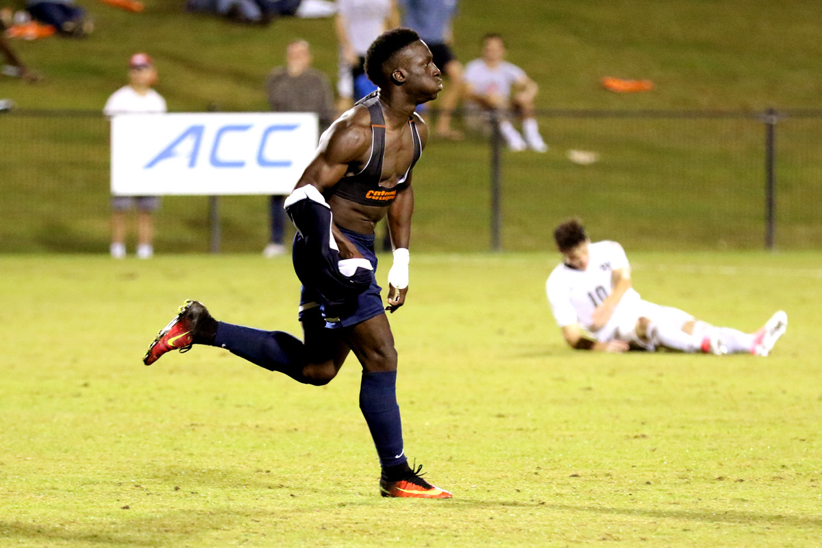Jean-Christophe Koffi helped Virginia win its fourth overtime game of the season.